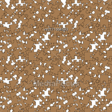 Set Of Brown Pazzle On White Background. Seamless Jigsaw Pattern Stock Photo