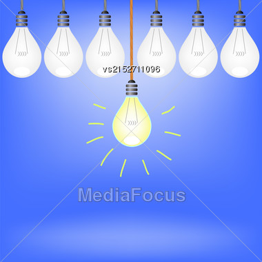 Set Of Bulbs Isolated On Blue Background Stock Photo