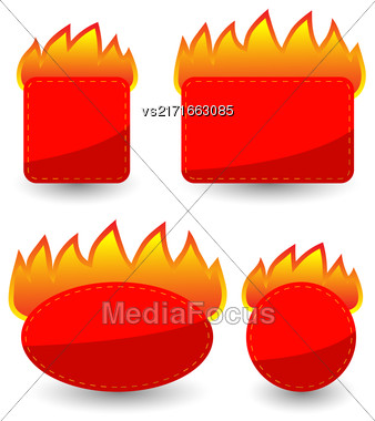 Set Of Burning Paper Red Stickers Isolated On White Background Stock Photo