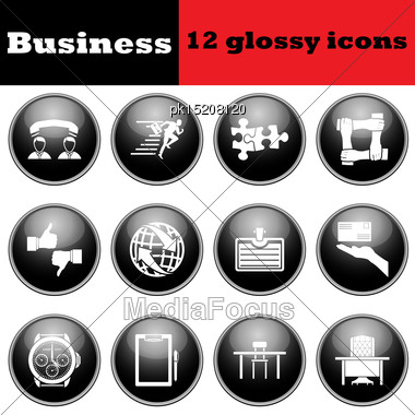 Set Of Business Glossy Icon. EPS 10 Vector Illustration Stock Photo
