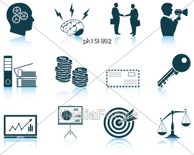 Set Of Business Icons. EPS 10 Vector Illustration Without Transparency Stock Photo