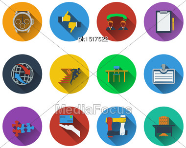 Set Of Business Icons In Flat Design. EPS 10 Vector Illustration With Transparency Stock Photo