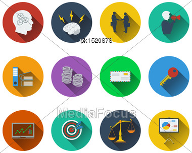 Set Of Business Icons In Flat Design Stock Photo