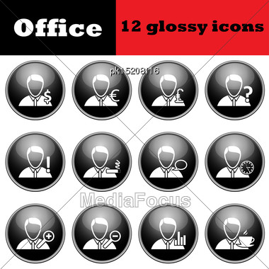 Set Of Business People Glossy Icons. EPS 10 Vector Illustration Stock Photo
