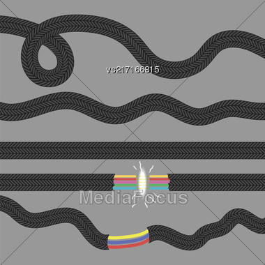 Set Of Cables On Grey Background. Damaged Cable Stock Photo