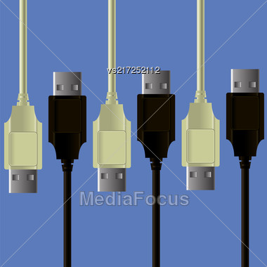 Set Of Cables Isolated On Blue Background Stock Photo