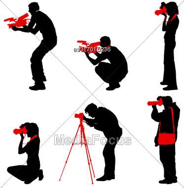 Set Cameraman With Video Camera. Silhouettes On White Background. Vector Illustration Stock Photo
