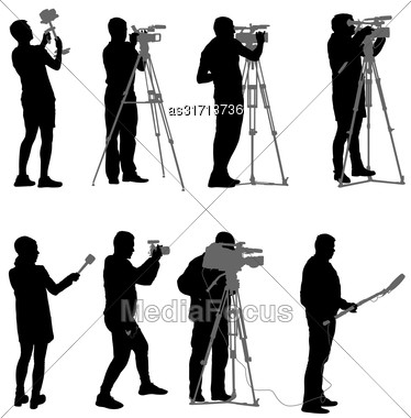 Set Cameraman With Video Camera. Silhouettes On White Background Stock Photo