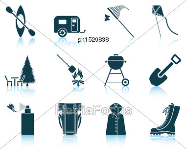 Set Of Camping Icons. EPS 10 Vector Illustration Without Transparency Stock Photo