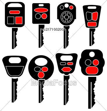 Set Of Car Keys Icons Isolated On White Background Stock Photo