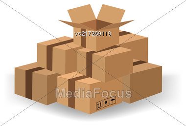 Set Of Cardboard Boxes Isolated On White Background Stock Photo