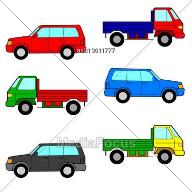 Set Cars, Trucks And Cars. Vector Illustration. Stock Photo