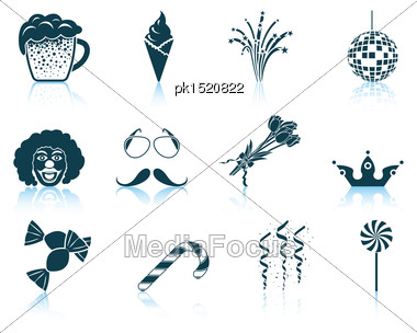 Set Of Celebration Icons. EPS 10 Vector Illustration Without Transparency Stock Photo