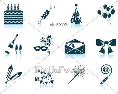 Set Of Celebration Icons. EPS 10 Vector Illustration Without Transparency Stock Photo
