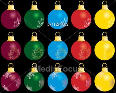 Set of Christmas (New Year) balls Stock Photo