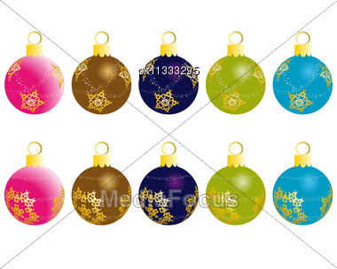 Set Of Christmas (New Year) Balls For Design Use. Stock Photo