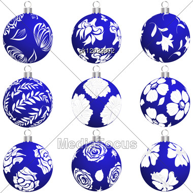 Set Of Christmas (New Year) Balls For Design Use. Vector Illustration. Stock Photo