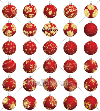 Set Of Christmas (New Year) Balls. Vector Illustration. Stock Photo