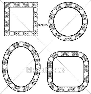 Set Of Circle Decorative Frames Isolated On White Background Stock Photo