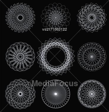 Set Of Circle Geometric Ornaments Isolated On Black Background Stock Photo