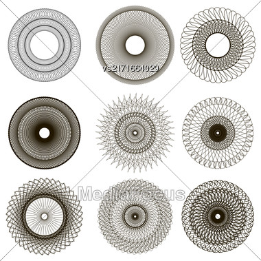 Set Of Circle Geometric Ornaments. Guilloche Rosettes Isolated. Ornamental Round Decor Stock Photo