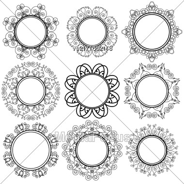 Set Of Circle Geometric Ornaments Isolated On White Background. Monochrome Elegant Mandala. Vintage Set Of Outline Oriental Emblems And Badges Stock Photo