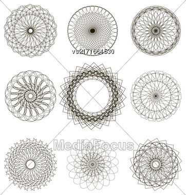 Set Of Circle Geometric Ornaments Isolated On White Background Stock Photo