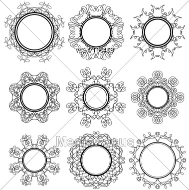 Set Of Circle Geometric Ornaments Isolated On White Background. Monochrome Elegant Mandala. Vintage Set Of Outline Oriental Emblems And Badges Stock Photo