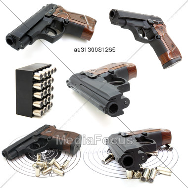 Set Of The Close Up Of A Pistol A Target And Cartridges Is Isolated Stock Photo