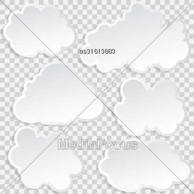 Set Of Clouds In The Sky. Vector Illustration Stock Photo