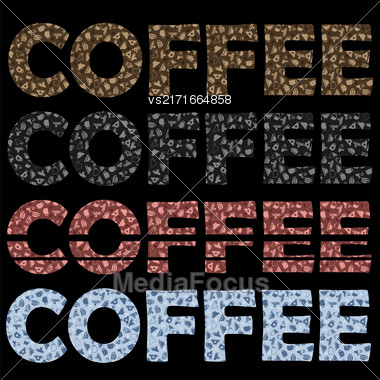 Set Of Coffee Cups Pattern On Black Background. Decorative Design Text Coffee Stock Photo