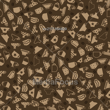 Set Of Coffee Cups Seamless Pattern On Brown Background Stock Photo
