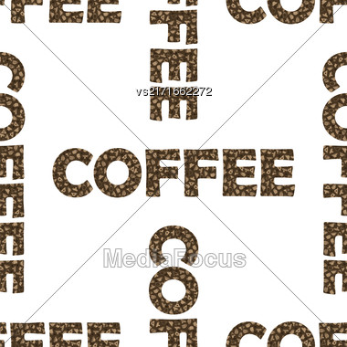Set Of Coffee Cups Seamless Pattern On White Background. Decorative Design Text Coffee Stock Photo