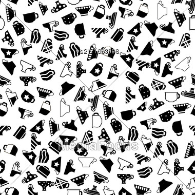 Set Of Coffee Cups Seamless Pattern On White Background Stock Photo