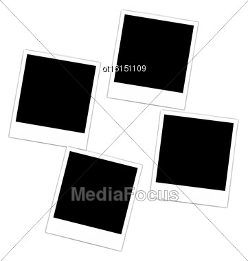 Set Collection Four Photos Frame For Design Scrapbook Space For Your Text - Vector Stock Photo