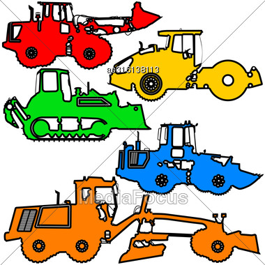 Set Color Silhouettes Road Construction Equipment. Vector Illustration Stock Photo