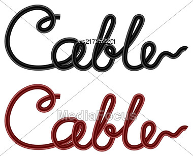 Set Of Colored Cables Isolated On White Background Stock Photo