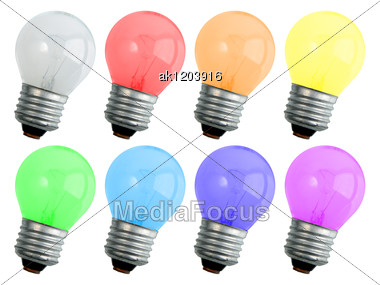 Set Of Colored Compact Lighting Lamps For Your Design Close-up Studio Photography Stock Photo