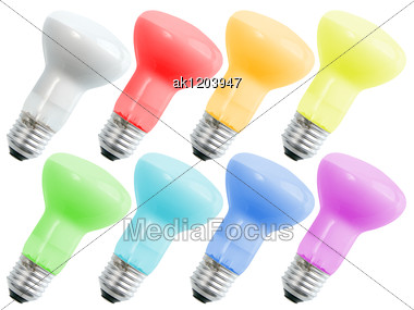 Set Of Colored Compact Lighting Mirrors Lamps For Your Design Close-up Studio Photography Stock Photo