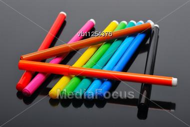 Set Of Colored Felt Pens Stock Photo