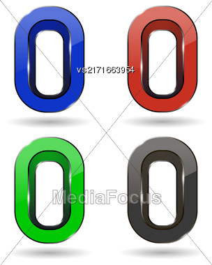Set Of Colored Icons Isolated On White Background. Letter O Stock Photo