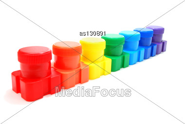 Set Of Colored Ink (Paint) Cans In Row Isolated On White Stock Photo
