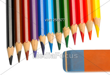 Set Of Colored Pencils And Eraser Stock Photo