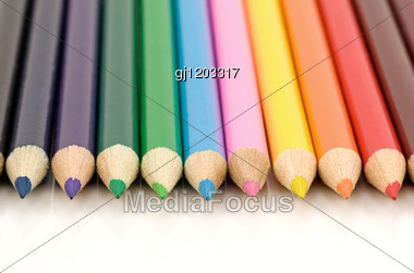 Set Of Colored Pencils Stock Photo