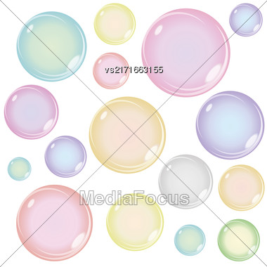 Set Of Colored Soap Bubbles Isolated On White Background Stock Photo