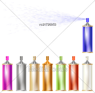 Set Of Colored Sprays Isolated On White Background Stock Photo