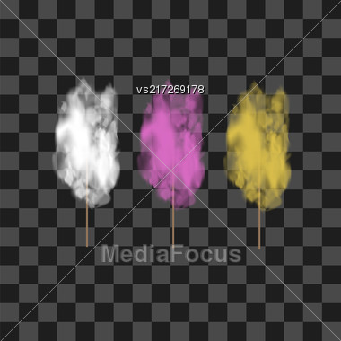 Set Of Colored Sweet Cotton Candy Isolated On Grey Checkered Background Stock Photo