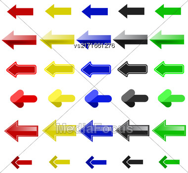 Set Of Colorful Arrows Isolated On White Background Stock Photo