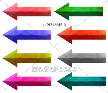 Set Of Colorful Arrows Isolated On White Background. Colored Arrow Buttons Stock Photo