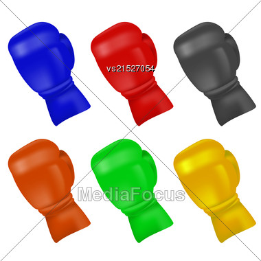 Set Of Colorful Boxing Gloves Isolated On White Background Stock Photo